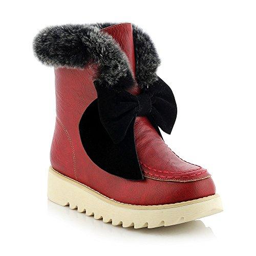 THk&M Das Mädchen bootie Bow Tie Schneeschuhwandern PU-Wohnung mit warmen, rot, 37 Dicken (Bow Tie Wohnungen)