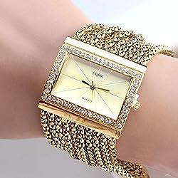 Chic Fashion Classic Rectangle Dial Quartz Women's Ladies Gold Silver Rhinestone Alloy Band Bracelet Watch Gift