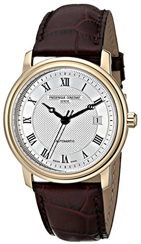 Frederique Constant Men's 40mm Brown Crocodile Leather Band Gold Plated Case Automatic Watch FC-303MC4P5