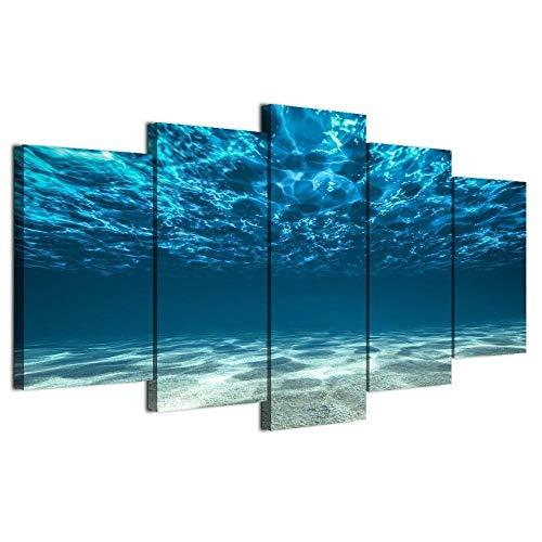 GLORIOUS.YY Bilder Blaue Wellen, Meeresboden, Sonnenbrechung Wandbild Vlies Leinwand Bild Wandbilder Wohnzimmer Deko Kunstdrucke 5 Teilig Fertig zum Aufhängen 150x80cm(A)