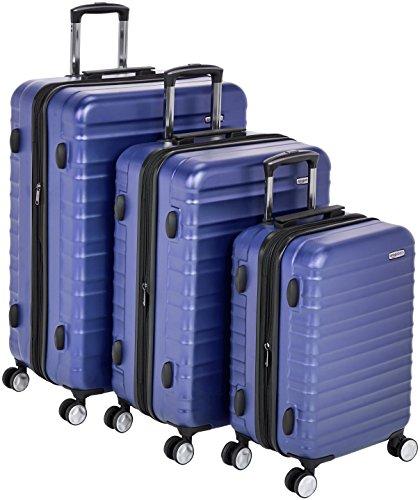 AmazonBasics - Trolley rigido premium, con rotelle pivotanti e lucchetto TSA integrato, Set da 3 pezzi (55 cm, 68 cm, 78 cm), Blu