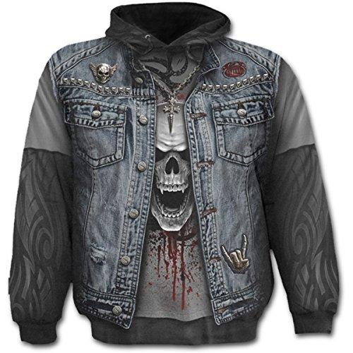 Spiral Direct Thrash Metal Allover Denim Jacket Effect Print Men's Pullover Hoody XL