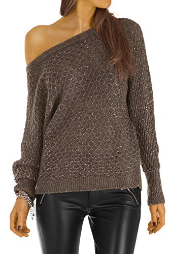 Bestyledberlin pull-over femme, pull-over aux manches chauve-souris t30z Marron