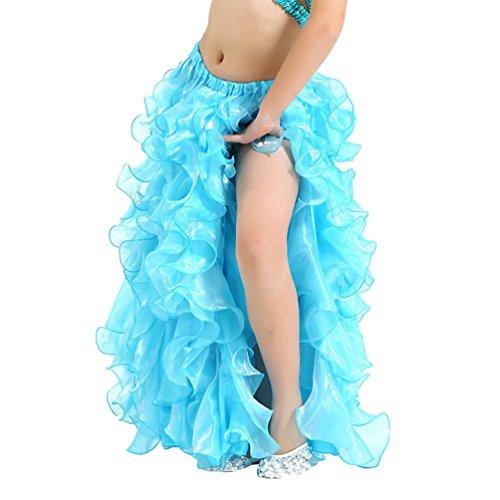 YuanDian Mädchen Einfarbig Bauchtanz Kleid Professionelle Moderne Tanz Kinder Prinzessin Party Öffnungs Swing Long Rock See Blau (Tanz Mädchen Kostüme Für Moderne)