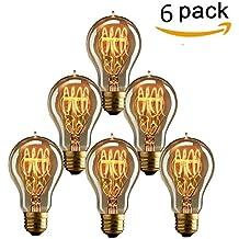KINGSO 6psc Lampadina Edison vintage a incandescenza, attacco E27 da 40 W A19 (23 ancore), (Illuminazione Decorativa A Sospensione Illuminazione)