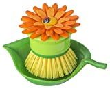 Vigar-Flower-Power-Orange-Palm-Dish-Brush-With-Holder,-5-3/4-Inches-by-3-3/4-Inches,-Yellow,-Green,-Orange