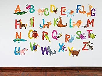 Full Colour Animal Alphabet Educational Wall Sticker Decal Kids - Educational wall decals