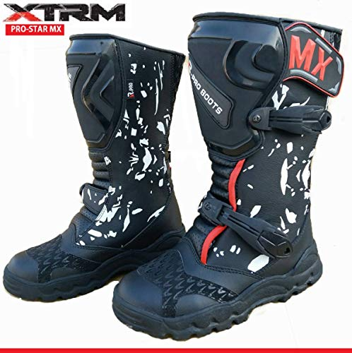 Kinder Motorradstiefel Off Road Sportstiefel XTRM Pro Star MX Quad PITBIKE ATV Bike Motocross Stiefel, Camo Blau/Camo Rot/Camo Schwarz - Black - 33