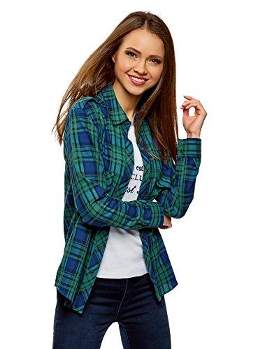 oodji Ultra Mujer Camisa a Cuadros con Bolsillos, Verde, ES 34 / XXS