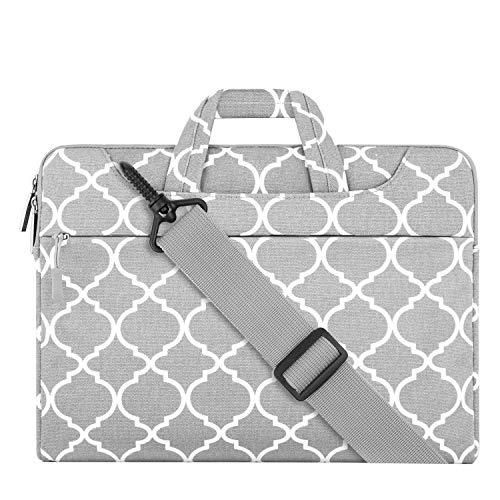 MOSISO Notebooktasche Kompatibel 15-15,6 Zoll MacBook Pro, Notebook Computer Canvas Geometrisch Muster Laptop Schultertasche Sleeve Hülle mit Griff und Schulterriemen, Grau Quatrefoil (Fleece-stoff Quatrefoil)