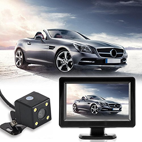 Jamicy® Rückfahrkamera-Set, 4,3Zoll TFT-LCD-Monitor und EU Nummernschild Rückfahrkamera, IP67 wasserdichte, für Auto Bus LKW Schulbus
