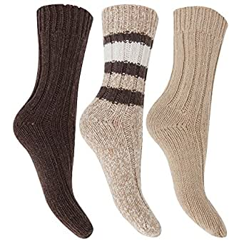 FLOSO® Ladies/Womens Thermal Thick Chunky Wool Blended Socks (Pack Of 3) (UK Shoe 4-7) (Beige)