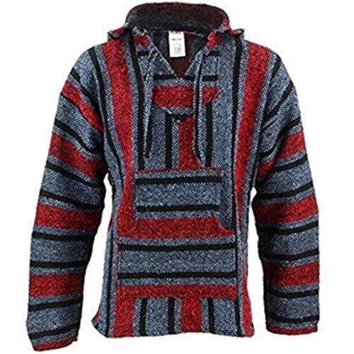 Sudadera estilo hippie mexicano, color rojo y azul, con capucha Azul azul...