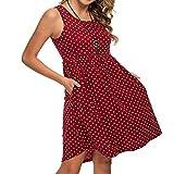 LOPILY Tunika Damen Große Größen Gepuntetes Kleid A-Linie Knielang Kleid Atmungsaktives Sommerkleid für Mollige Rundkragen Hohe Taillen Umstandkleid Ärmellos Kleid mit Punkte (Rot, EU-46/CN-4XL)