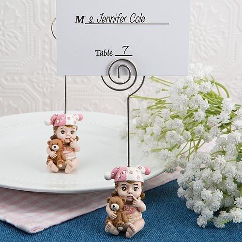 6 Vintage Baby-Platz-Kartenhalter Baby-Duschen Taufen Bevorzugungen Geschenke - Pink (Vintage Baby-dusche-bevorzugungen)