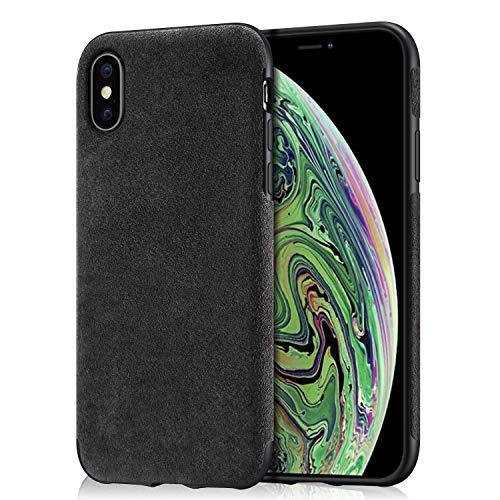 Arrivly Alcantara Cover Für iPhone XS MAX Schwarz Hülle Wildleder Case Handyhülle Rehleder Mikrofaser Schutzhülle (iPhone XS MAX)