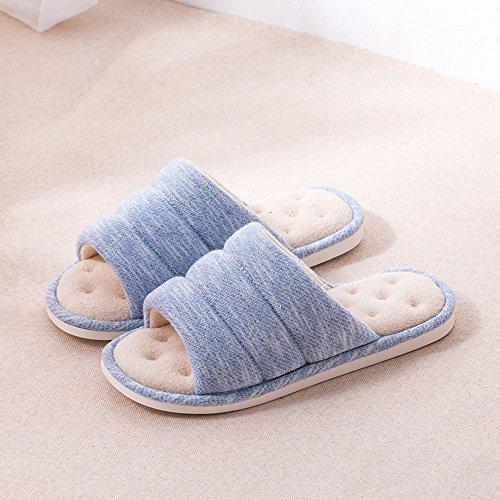 Confortable Chaussons de lin à la maison pour le printemps et lété: chaussons en bois, chaussons en bois, pantoufles glissantes intérieures Mute toiles en lin doux et coton (6 couleurs en option) (ta B