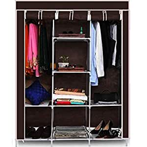 Maison & Cuisine 6+2 Layer Fancy and Portable Foldable Collapsible Closet/Cabinet (Need to Be Assembled) (88130) (Brown)