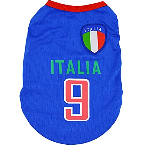 Yuno New World Cup Cute Cozy Pet Clothes for Dog Cat T-shirt Cool Vest Summer Shirt Puppy Costumes Outfit(Size: XS,Italian Team)