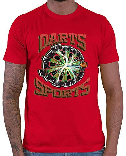 HARIZ  Herren T-Shirt Darts Sports Blitz Scheibe Dart Sprüche Männer Sport Fun Trikot Plus Geschenkkarten Rot XL