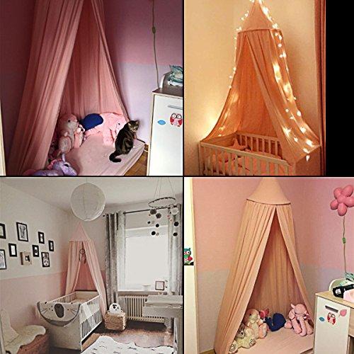 Baby Betthimmel Baldachin Baumwolle Rund Moskitonetz Insektenschutz Kinder Prinzessin Spielzelte Dekoration fürs Kinderzimmer (Rosa) - 3