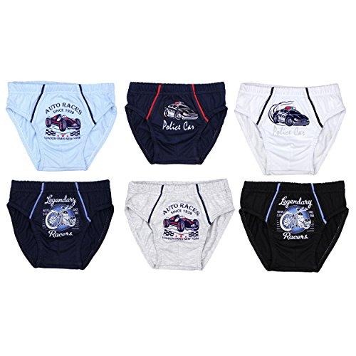 6er Pack Jungen Unterhosen Slips Set 100% Baumwolle Kinder Boxershorts Unifarben Unterwäsche mit Aufdruck Test