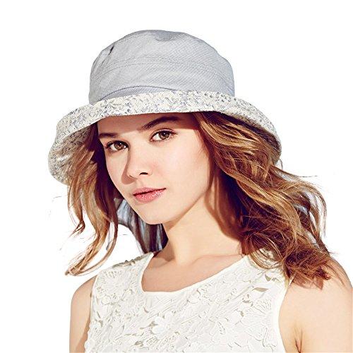 Kenmont Frauen sommer faltbare Sonnen Eimer Hut breiter Krempe Urlaub Strand kappe (blau) Frauen Blauen Eimer Hüte