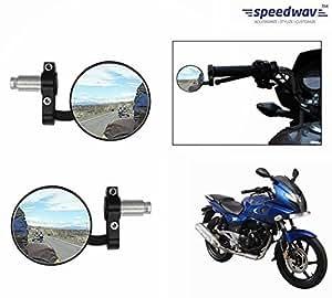 Speedwav Bike Handle Grip Rear View Mirror BLACK Set Of 2-Bajaj Pulsar 220