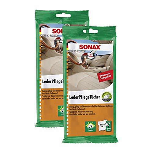 2x Sonax 04156000cuir cuir Lingettes d'entretien chiffon Lot de 10