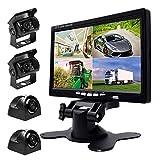 Podofo 9V-24V Auto-Unterstützungskamera-Installationssatz, 7 Zoll HD Viererkabel-aufgeteilter Monitor + 4 x-wasserdichte IR-Nachtsicht-vordere hintere Seitenansicht-Kameras und 33 ft Handels-Kabel, Spiegel / Normal Bild