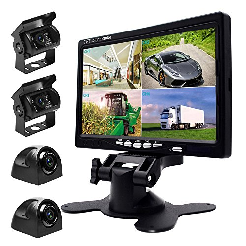 Podofo 9V-24V Car Backup Camera Kit, 7 Inch HD Quad-split Monitor + 4 x Waterproof IR Night Vision Cameras 9v Backup