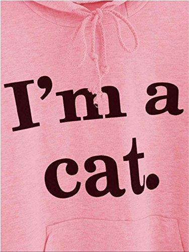 Jinglive Automne Hiver Femmes Lettres ImpriméI'M A Cat Manche Longue Chat Cosplay Kawaii Sweat-Shirt Sweats à Capuche Tops Femme Pull Hoodies Rose