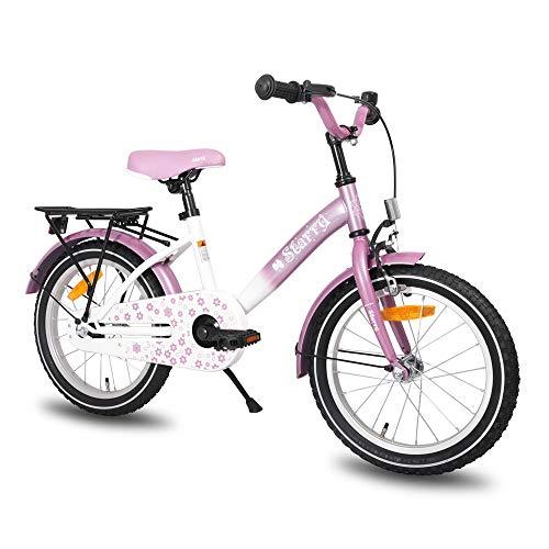 HILAND Starry 16 Zoll Kinderfahrrad für Mädchen 4-7 Jahre mit Ständer, Handbremse, Rücktritt und Rücksitz/Gepäckträger Lila Violett