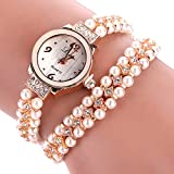 Frauen Damen Armbanduhr, 4 Farben-Legierungs Faux Perlen Bügel Armband Rhinestone runde Vorwahlknopf Quarz Bewegungs Armbanduhr(D)
