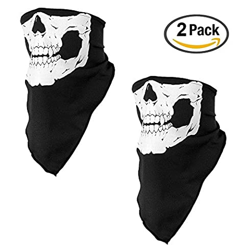 Seamless Skull Face Mask Outdoor Cycling Riding Scarf Breathable Dust-proof Windproof Half Face Mask Motorcycle /Bike Tube Mouth Face Mask for Motorcycle Skiing Hunting Warm Neck Gaiter (2 PACK)
