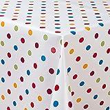 laro Wachstuch-Tischdecke Abwaschbar Garten-Tischdecke Wachstischdecke PVC Plastik-Tischdecken Eckig Meterware Wasserabweisend Abwischbar G03, Muster:Punkte Weiss-bunt, Größe:100x140 cm - 3