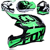 Motocross Helmet Off Road Motorcycle Dirt Bike ATV D.O.T Certified Dual Sport Endurance Race Helmet (White & Green),XL