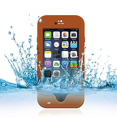 Cuitan Wasserdicht Schutzhülle Hülle für Apple iPhone 6 Plus (Schwarz), Multi-Layer-Hybrid TPU + PC Schutzhülle Rückseite Handyhülle mit Ständer Design Bumper Case Cover Shell für iPhone 6 Plus Orange