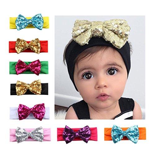 MUUZONING 8 Stück Süß Baby Mutter Stirnbänder Elastische Baumwolle Haarband Turban, Mehrere Farben Kleinkind Haar Bogen Fliege Schleife Haarreifen, Mädchen Head Wrap Kostüm Fotografie Props #1