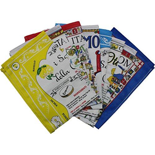 Russo tessuti 12 pz strofinacci canovacci cotone souvenir italia sicilia sorrento limone