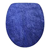 Toilettendeckelbezug/ WC-Stoffbezug - Mikrofaser-Klodeckelbezug, 15mm Flor, Gummizug, oval ca. 47x50cm, in der Farbe royalblau