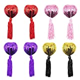 EQLEF® Biancheria intima Petal Pasty, Adesivo Sequin Pasties con nappe, capezzoli copre (rosso, dorato, rosa e viola 4 paia)