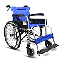 HAMIMI Light Wheelchair Portable Elderly Disabled Aluminum Manual Service Staff Push Detachable Folding Transport Travel Self-propelled Mobility Wheelchai (Style : Solid tire)