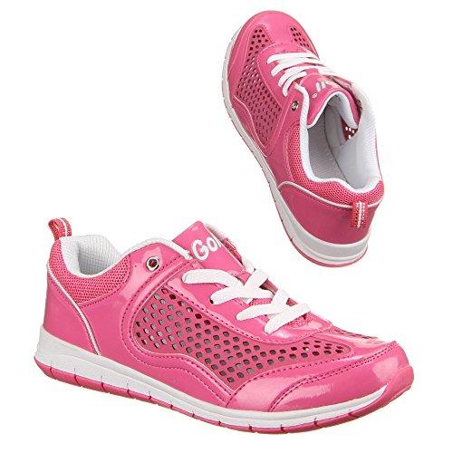 Damen Schuhe, G852, FREIZEITSCHUHE ZWEIFARBIGE SNEAKERS Pink