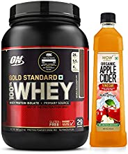 Optimum Nutrition (On) Gold Standard 100% Whey Protein Powder - 2 Lbs (Double Rich Chocolate) & Wow Raw Ap