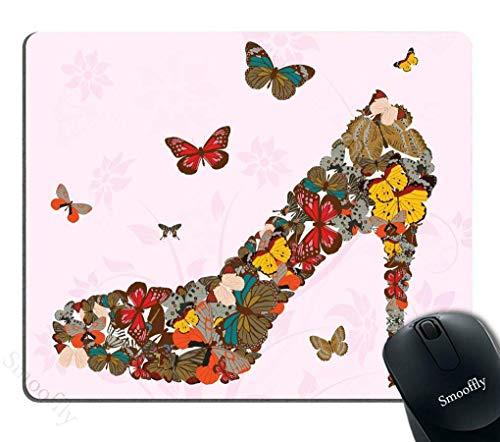 Virsaa Gaming Mouse Pad Benutzerdefiniert, Schmetterling Schuhe Anti Slip Mouse Pad Rosa Persönlichkeit Desings Gaming Mouse Pad,Gummimatte 11,8