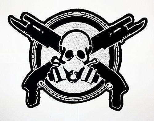 ohazard Maske Totenkopf Gun Kreuz Patch Weste/Jacke Biker Patch Motorrad Fahrer Biker Tattoo Jacke T-Shirt Patch Sew Iron on gesticktes Schild Badge (Zucker Schädel-masken)