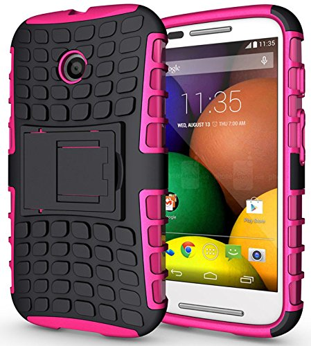 Heartly Flip Kick Stand Spider Hard Dual Armor Hybrid Bumper Back Case Cover For Motorola Moto E XT1022 - Cute Pink