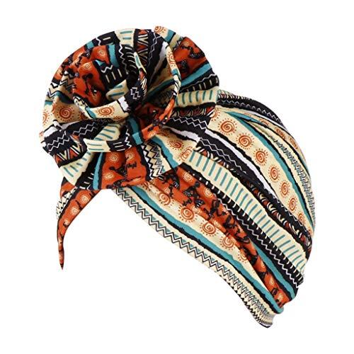 Polizei Indien Kostüm - Nyuiuo Frauen Kopfbedeckung gedruckt Floral Indien Hut muslimischen Rüschen Krebs Chemo Beanie Turban Wrap Cap Boho Blumendruck Hut Haar Wrap Stretch Baumwolle Chemo Schlaf Cap