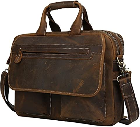 Iswee Rindleder Leder Aktentasche Messenger Satchel Tote Schultertasche 16 '' Laptop Tasche für Männer